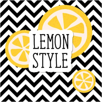Lettering lemon style with pattern stripe