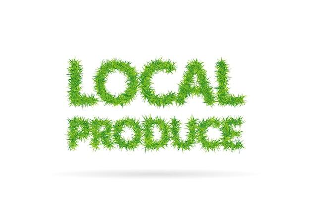 草からなる地元の食材のレタリング