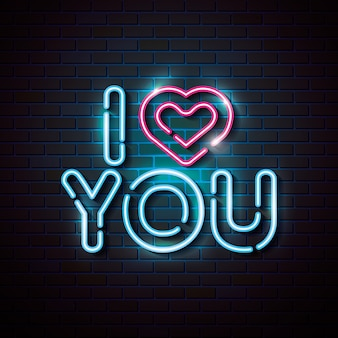 Lettering of love with heart of neon lights