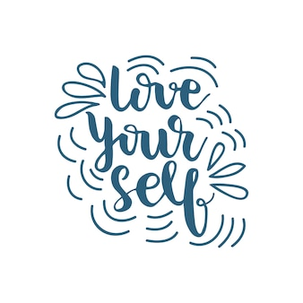 Lettering love yourself. vector illustration.