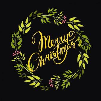 Lettering mery christmas wreath