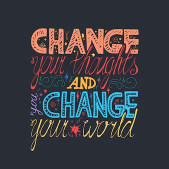 Lettering motivation poster. Change your thoughts and you change your world.