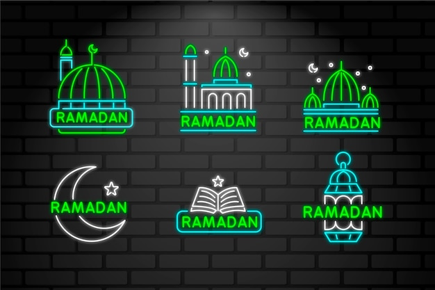 Lettering neon sign with ramadan theme