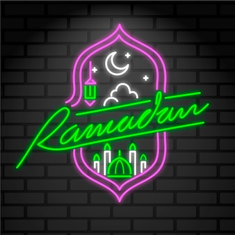 Lettering neon sign with ramadan