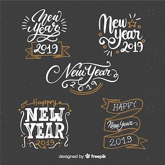 Lettering new year 2019 collection