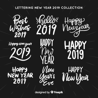 Lettering new year stickers collection