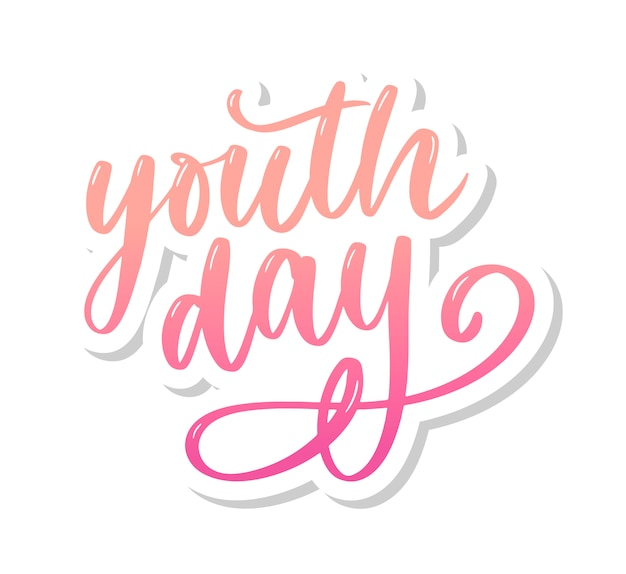 Надпись международного дня молодежи желтый слоган