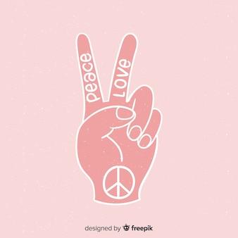Lettering mano segno di pace