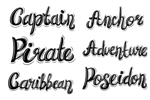 Lettering phrase in vintage style on white.