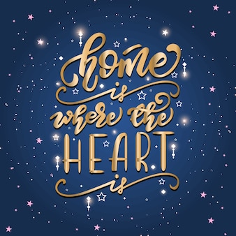 Lettering poster with a phrase about home