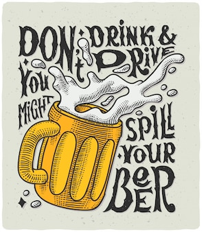 Lettering poster with beer mug