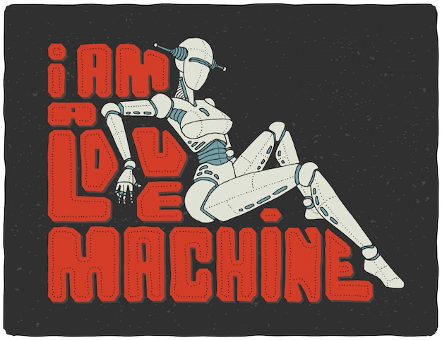 Lettering poster with cyber female robot