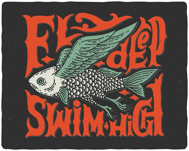 Lettering poster with fish illustration