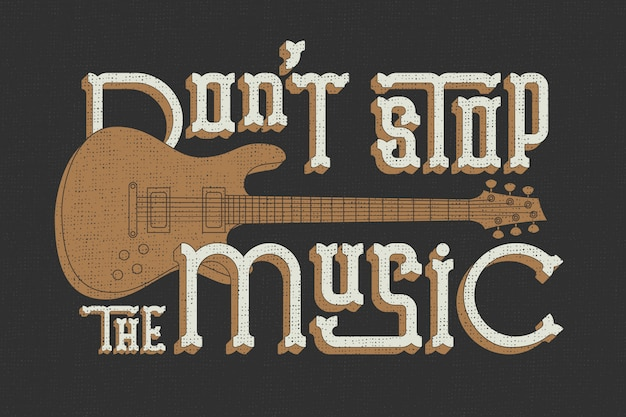 Lettering poster with guitar illustration