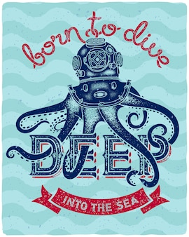 Плакат с надписью осьминога