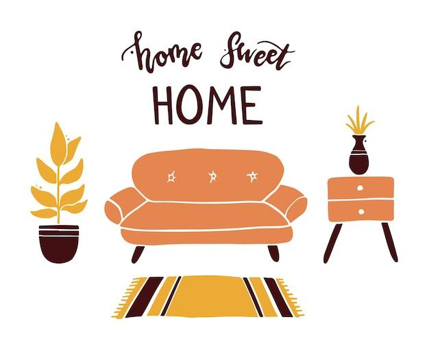 レタリングの引用ホームスイートホームと家具、観葉植物のあるリビングルーム。シンプルでトレンディなフラットスタイル。