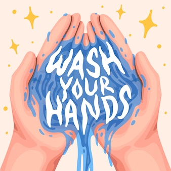 Lettering quote illustration wash your hands