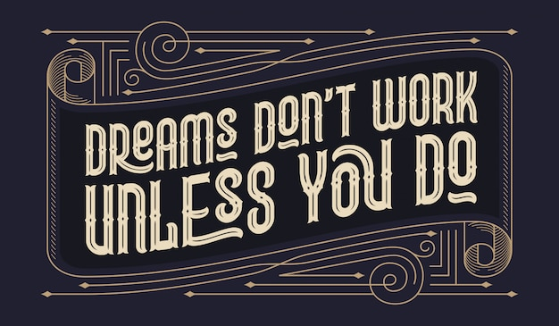 Lettering quote with vintage ornament