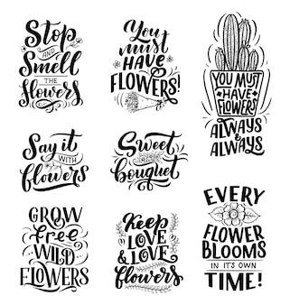 Надписи цитаты о цветах, иллюстрации, сделанные в векторе.