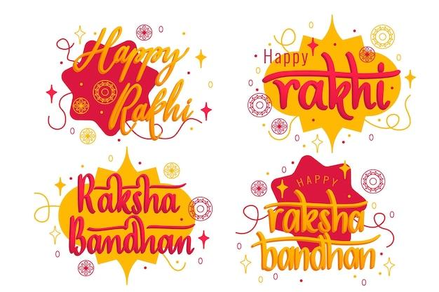 Lettering raksha bandhan badges