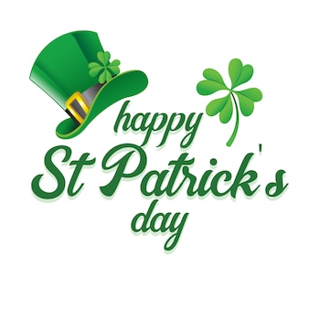 Lettering of saint patrick's day greeting with hat and shamrock