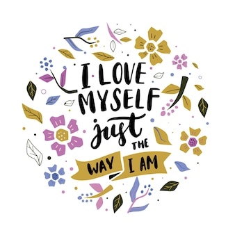 Lettering self love with flowers