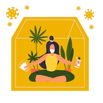 Lettering self-quarantine. woman sitting in lotus pose and doing yoga asana with medical mask, sanitizer. coronavirus pandemic self isolation. flat  design. covid-19 outside silhouette of house