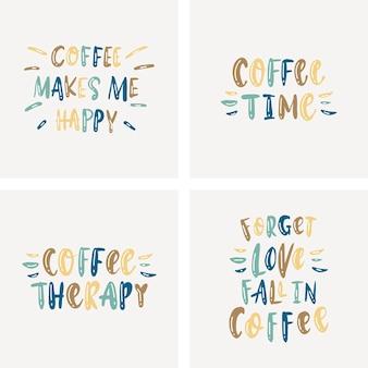 コーヒーについてのレタリングセット