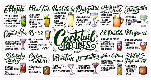Lettering set of cocktails recipes. template for bar menu and restaurant.