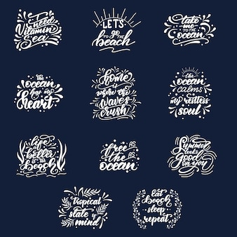 Lettering set with summer phrases