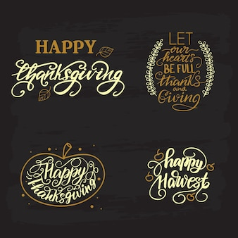 Lettering set with thanksgiving greetings. vector illustrations.