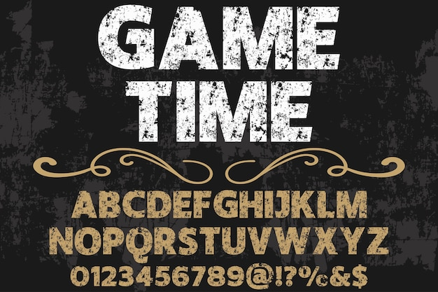 Lettering shadow effect typography design game time