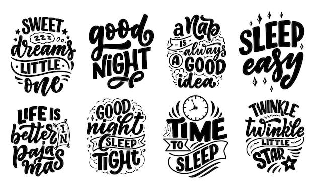 Надпись лозунг о сне и спокойной ночи. иллюстрация для графики, гравюры, плакаты, открытки