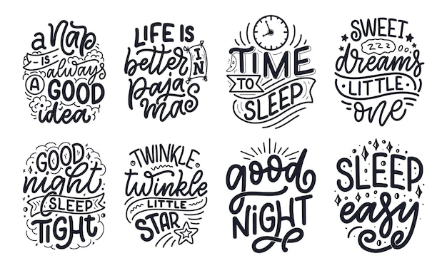 Lettering slogan about sleep and good night.  illustration  for graphic, prints, poster, card, sticker and other creative uses