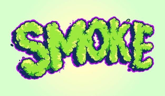 Lettering smoke typeface pop art cloud illustrations