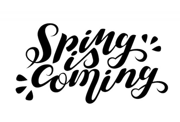 레터링 봄이오고있다. 흰색 backgroung에 격리. 필기 인용, 말하기