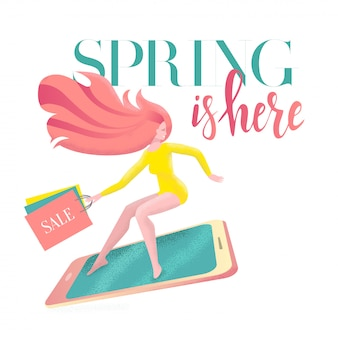 Lettering spring is here on card with girl on smartphone in a hurry to sale with shopping bags.