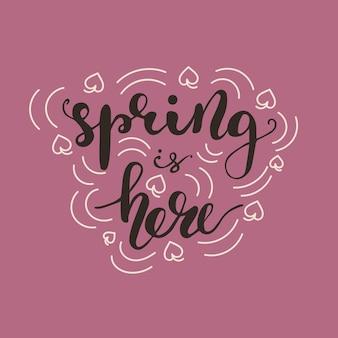 Lettering spring이 있습니다. 벡터 일러스트입니다.