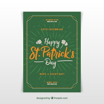 Lettering st. patrick's day flyer / poster template