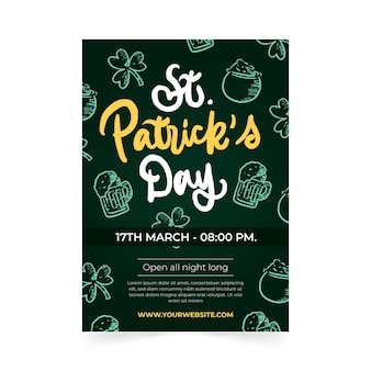 Lettering st. patrick's day flyer template
