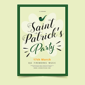 Lettering st patricks day poster template
