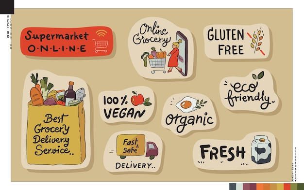 Lettering sticker set. online grocery concept.