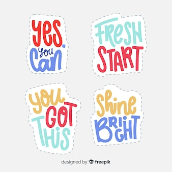 Lettering stickers with motivational quote