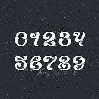 Надпись стиль арабскими цифрами. набор фигур, чисел с декоративными элементами вихря.