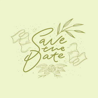 Lettering style save the date