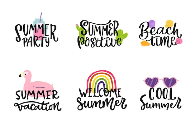 Lettering summer badges pack