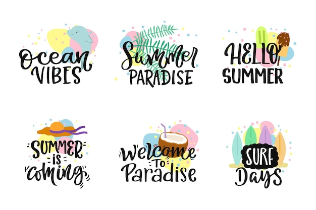 Lettering summer badges set