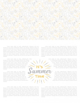 Lettering summer holiday set of cute icon with white background