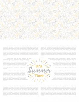 白地にかわいいアイコンの夏の休日セットをレタリング