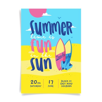 Надпись летней вечеринки плакат